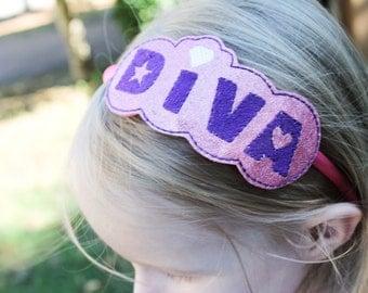 Diva Headband, Girls Headband, Girls Diva Headband, Diva toddler headband, Toddler Headband, pink headband, purple headband