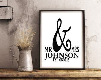 Personalized Date Print 8x10- Wedding / Mr & Mrs