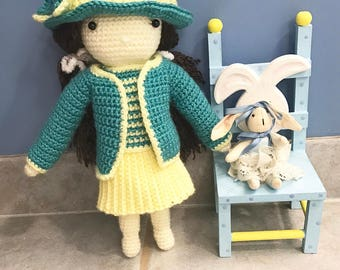 Doll Skirt & Jacket Set, Doll Yellow Skirt, Doll Teal Jacket, 13 inch Doll Clothes, 13 inch Doll Suit, Aqua Doll Top, Girls Birthday Gift