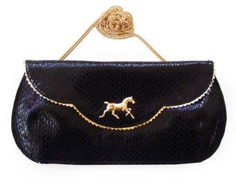 SALE Shiny Black and gold Horse clutch, Leather sparkly clutch, Black evening purse , Women's black wallet purse