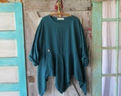 linen tunic top blouse contemporary in teal blue green ready to ship