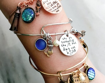 Mermaid Bracelet, Mermaid Charm Bracelet, Hand Stamped, Expandable Bangle, Adjustable, Personalized Bangle, Quote, beacon, swim, fin, ocean