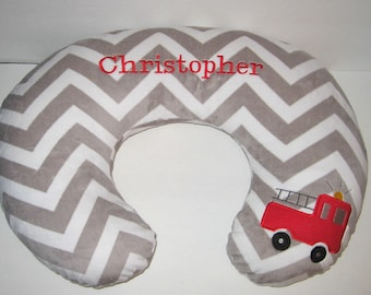 Boppy Cover, Fire Truck, Fire Engine, Bobby Pillow Cover, Boppy Slipcover, Chevron Minky Boppy Cover, Nursing, Baby Boy Gift,  Color Choice