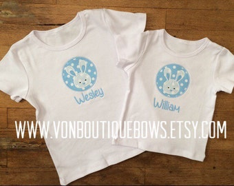 Bunny brother blue boy Applique Personalized Easter matching newborn 3 6 9 12 18 months 2T 3T 4T 5T 6 8 10