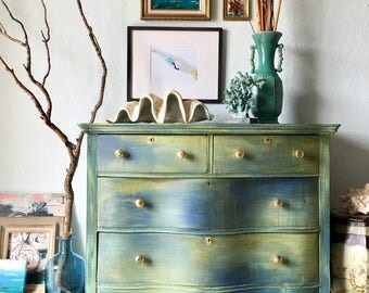 Stunning Antique Dresser in Colors from the Ocean