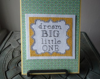 Dream Big Little One, Hand Stitched Greeting Card