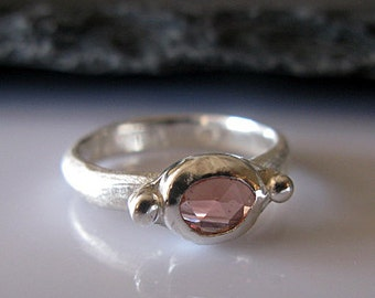 Genuine Pink Spinel Ring Spinel Slice Ring Size 7 1/2 Rose Cut Spinel Unique Engagement Ring Stacking Ring Silver Gemstone Ring Organic Pink