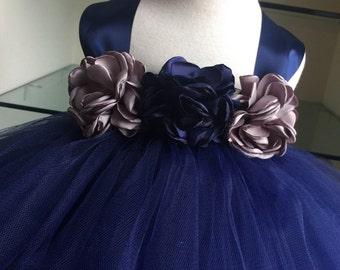 Navy Blue Gray Flower Girl Tutu Dress- Burned Flower- Navy Blue Satin Tutu Dress- Flower Girl Dress