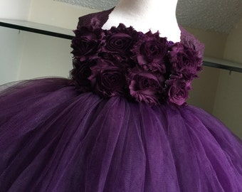 Plum Eggplant Shabby Flower Girl Satin Lace Tutu Dress- Flower Girl Dress- Plum Lace Dress- Eggplant Lace