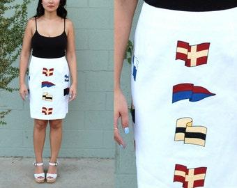 nautical flag skirt - 90s vintage white preppy pencil short mini pennant novelty print cotton sailing boating cruise resort summer large