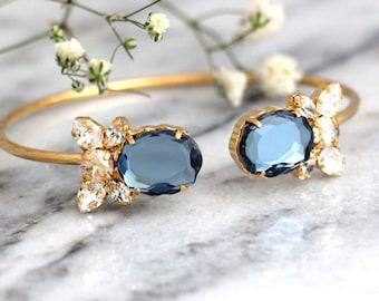 Blue Navy Bracelet, Bridal Blue Navy Bracelet, Swarovski Blue Navy Champagne Bridal Cuff Bracelet, Bridal Cuff Bracelet, Bridesmaids Jewelry