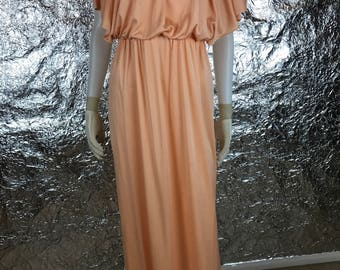 Vintage Canteloupe 70's Goddess Gown  S/M