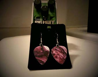 Purple Swirl Guitar Pick Earrings