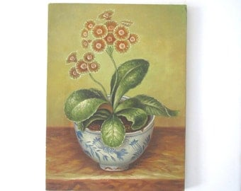 Vintage still life painting/floral still life/ flowers in potted chinoiserie planter