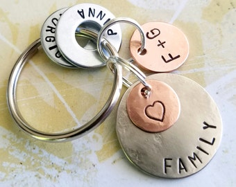 Anniversary Gift Keychain with heart - Personalized Hand Stamped Key Chain - Valentine's Day Gift - Christmas Gift - Husband Birthday Gift