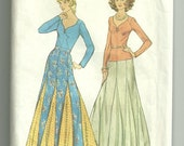 Vintage 1970s Simplicity 6291 Sewing Pattern Size 14 for Pullover Top and Full Skirt