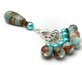 Earth & Sky Stitch Marker Set- Snag Free Knitting Gift- Blue and Brown Beaded Holder- Tools