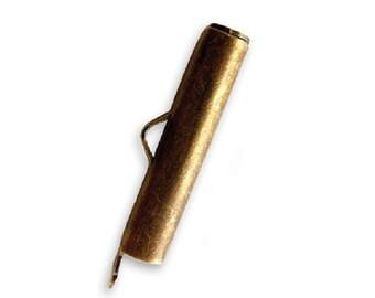 Vintaj Natural Brass Bead Pod Slide End Tube // Vintaj Toggle Bar // Vintaj Bean Pod Tube // Antique Brass Clasp // Brass End Bar