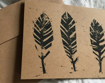 Feathers Handstamped Linocut Card