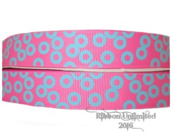 10 Yds WHOLESALE 7/8 Inch Hot Pink with Turquoise Doodle Dots grosgrain ribbon LOW SHIPPING Cost