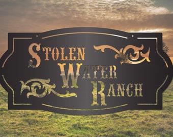 Classic Western Farm Sign with Scrolls LMW-16-79