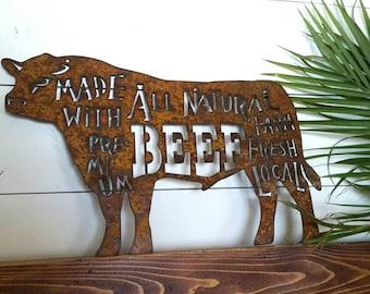 """Rustic bull """"BBQ Shop"""" metal sign"""