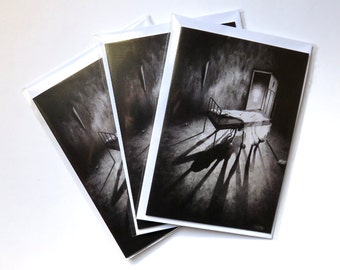 Stephen Under The Bed cards pack of 3 , horror card, fantasy card, monster card, halloween card, blank card, black and white card, art card