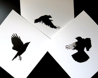 Crow cards pack of 3 , bird cards, gothic cards, halloween card, blank card, black and white card, art card, wildlife cards, crow prints