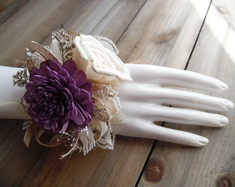 Ships in 5 days ~~~ Sola Flower Wrist Corsage, Plum Dark Purple and Ivory Sola Flowers, Jute Ribbon, Lace