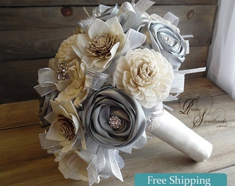 Ready to Ship ~~~ Rustic Winter Bridal Bouquet Large, Sola Flowers, Silver Satin Ribbon Roses, Rhinestones