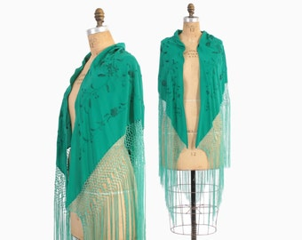Vintage 30s Silk SHAWL / 1930s Bright Teal Green Embroidered Silk Crepe Fringe Wrap