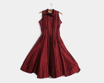 Vintage 40s Party Dress / 1940s CLAIRE MCCARDELL Garnet Red Silk & Black Velvet Full Skirt Dress M