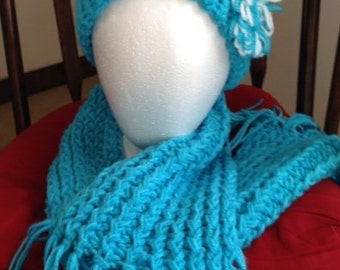 Teal Stocking Cap And Matching Scarf