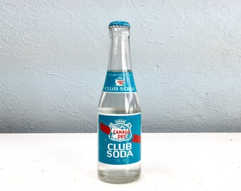 Vintage Bottle of Canada Dry Club Soda Full with Original Top, 1950s Soda Pop