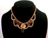 RESERVED FOR J---Vintage Givre Topaz And Aurora Borealis Rhinestones Necklace