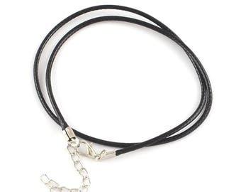 """5 Waxed Cord Necklaces 18.7"""" Black with Alloy Lobster Claw Clasp and Extender Chain - N220"""