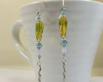 Vintage Swarovski Sunshine Yellow Summer Earrings, Beautiful Sparkling Elegant Vintage Swarovski Crystal Elements Earrings with 925 Silver