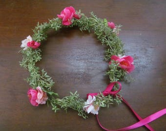 FloralCrown  Headband Spring Greenery  Flower Girl Wedding Party Just for Fun