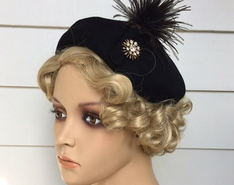 1950s Hat Black With Plume