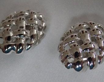 Vintage earrings, signed Vendome silver tone basket weave clip-on earrings, jewelry