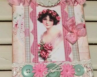 Shabby Birthday Card, Vintage Style, Handmade Card, Embellished Card,Greeting Card