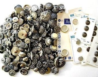 Silver Buttons, Large 1 lb Lot Vintage & Antique Metal and Plastic