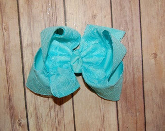 SSD Aqua Blue Lace Hair Bow