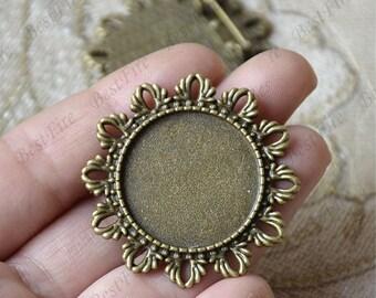 4 pcs Antique bronze filigree Luster round (base 25mm ) leaf Flower Brooches ,flower Brooch Brooch Back Base, Bezel Setting Match