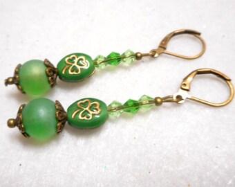 St. Patrick's Day Earrings, Crystal Earrings, Shamrock Earrings, Lucky Earrings, St. Patrick's Day Jewelry, Handmade Green Earrings, Green