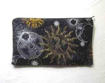 Sun, Moon and Stars Fabric Zipper Pouch / Pencil Case / Make Up Bag / Gadget Sack
