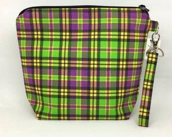 Mardi Gras Plaid Small Knitting Bag
