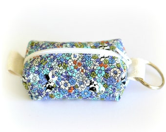 Blue French Bulldogs floral mini zippy coin purse keyring pouch