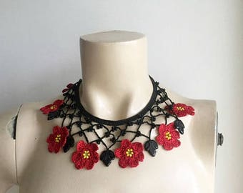 Black and Red Necklace-Crochet Necklace-Turkish Oya necklace with Glass  Beads -Poppy  Necklace