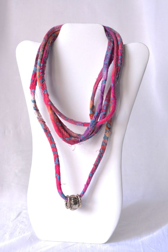Boho Pink Necklace, Infinity Fabric Necklace, P100, Handmade Fabric Scarf, Summer Beach Mulit Strand Necklace
